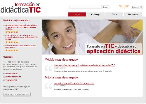 Captura de pantalla de la web Formación en didáctica TIC