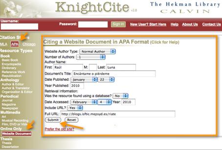 calvin college knight cite Citation guide: citation generators  created by the calvin college heckman library,  knight cite from calvin college library.